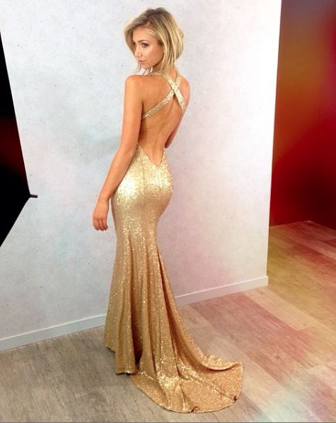 5869f50a707 New Gold Sequins Evening Gowns Hot Sexy Backless Prom Dresses ...
