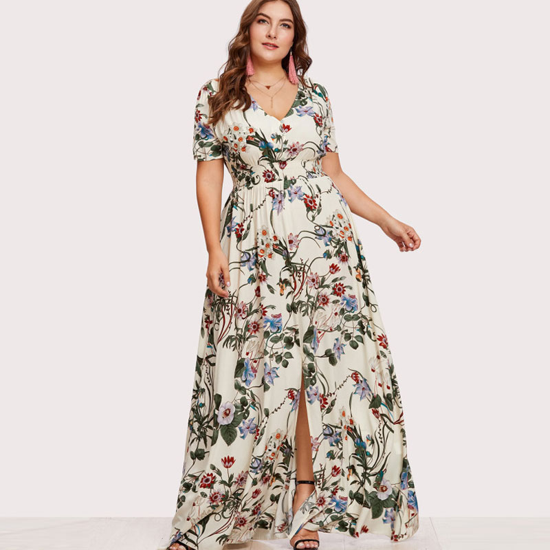 Floral Plus Size Slit Button Up Front Maxi V-neck Summer Dress from Ryvic  27 Fashion