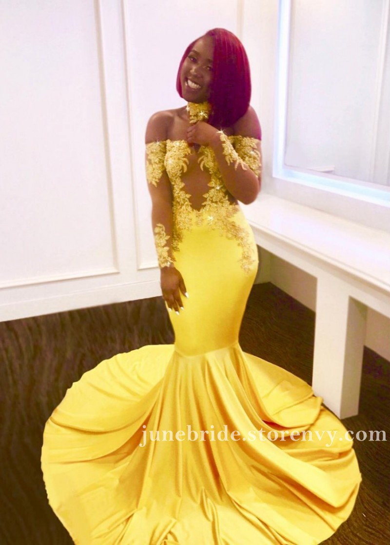 ed932775e29f Yellow Lace Long Sleeves Prom Dresses For Black Girls 2019 Appliques ...