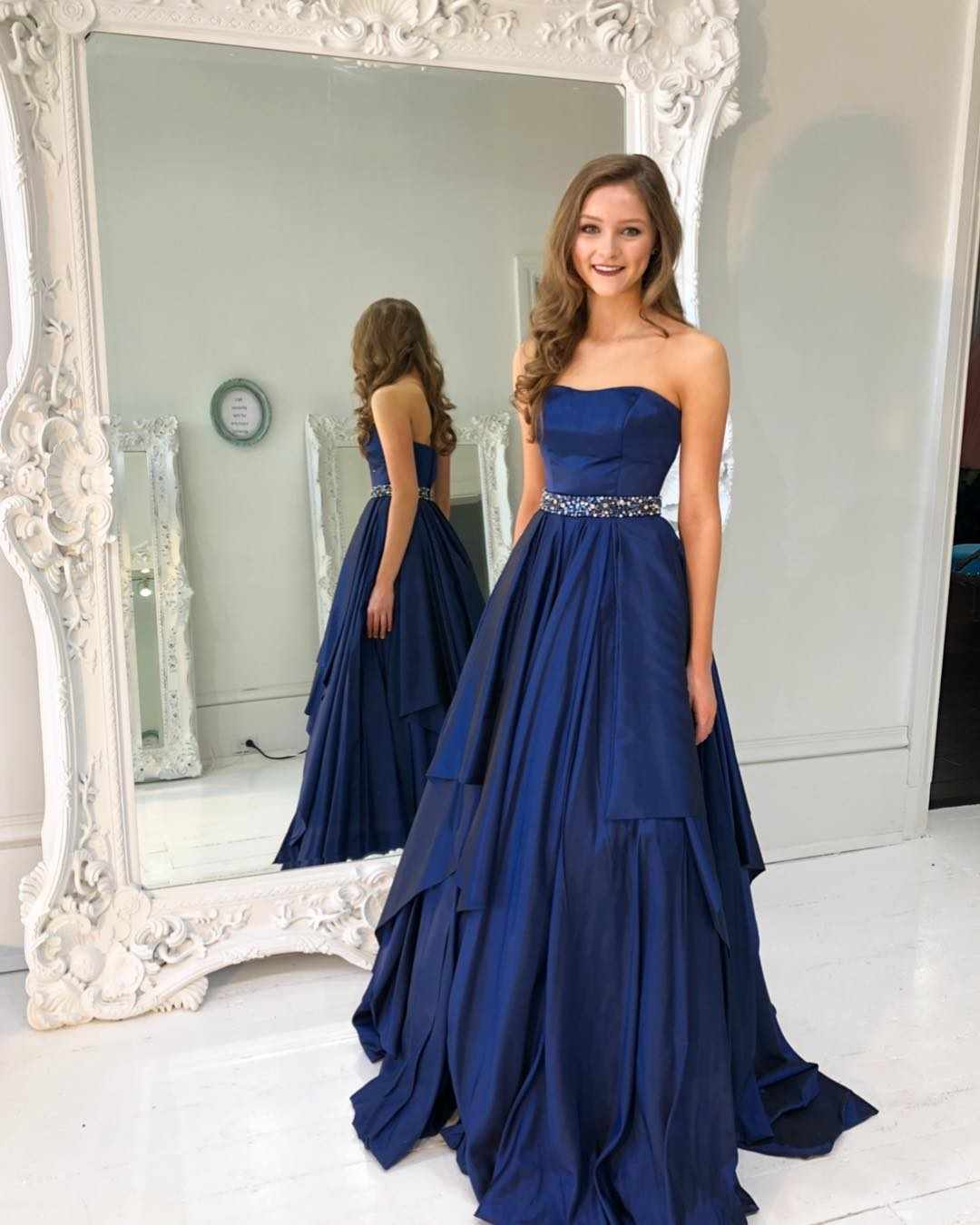 59725410f9fb Gorgeous Strapless Navy Blue Long Prom Dress · halundress