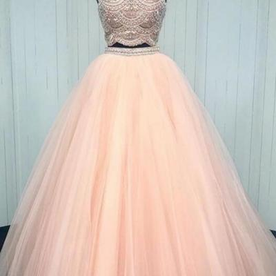 5fb89bc60ff3 Sparkly Two Piece Champagne Long Prom Dress with Open Back · halundress