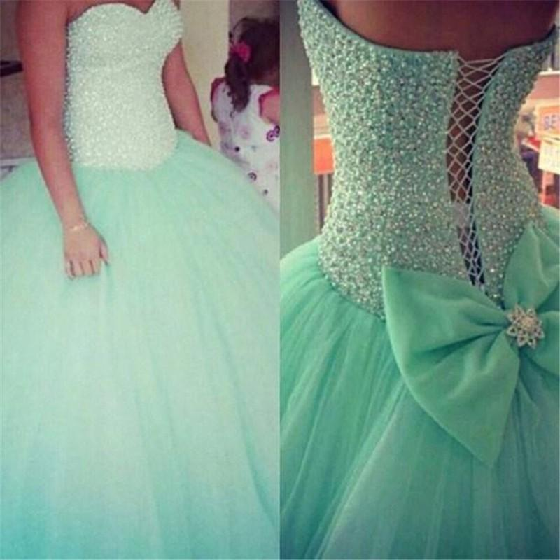 Sweetheart Beads Mint Tulle Quinceanera Dresses Long Ball Gown Prom  Dress,High Quality Custom Made Plus Size Evening Gowns Quinceanera Dress  from ...