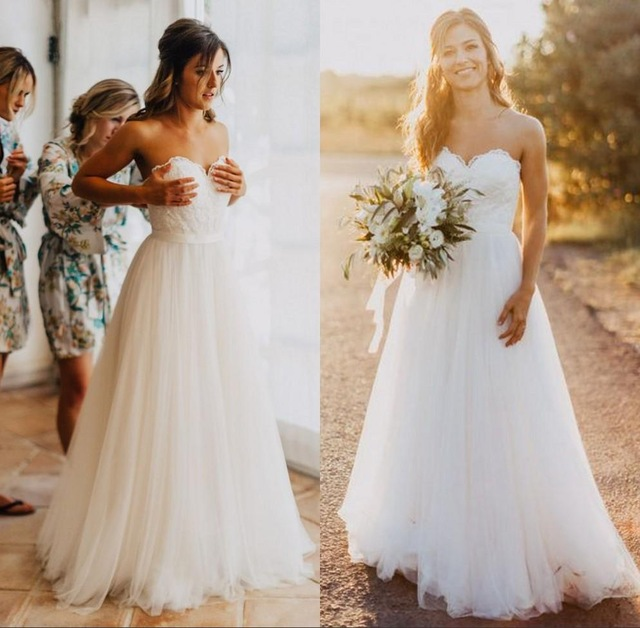 80b4b343a5073 A Line Princess White Lace Beach Wedding Dresses Sweetheart Tulle Simple Wedding  Gowns Cheap Bridal Wedding