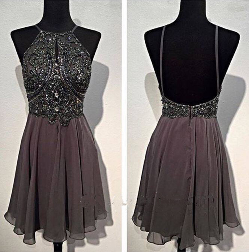 e85eac2c9dd Spaghetti Straps Grey Open Back Homecoming Dresses