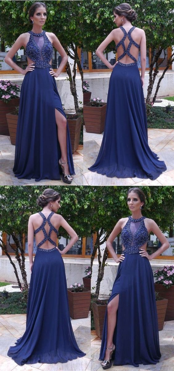 4a165ba53d4 Elegant Beaded Blue Bodycon Maxi Sexy Party prom dresses new style fashion evening  gowns for teens ...