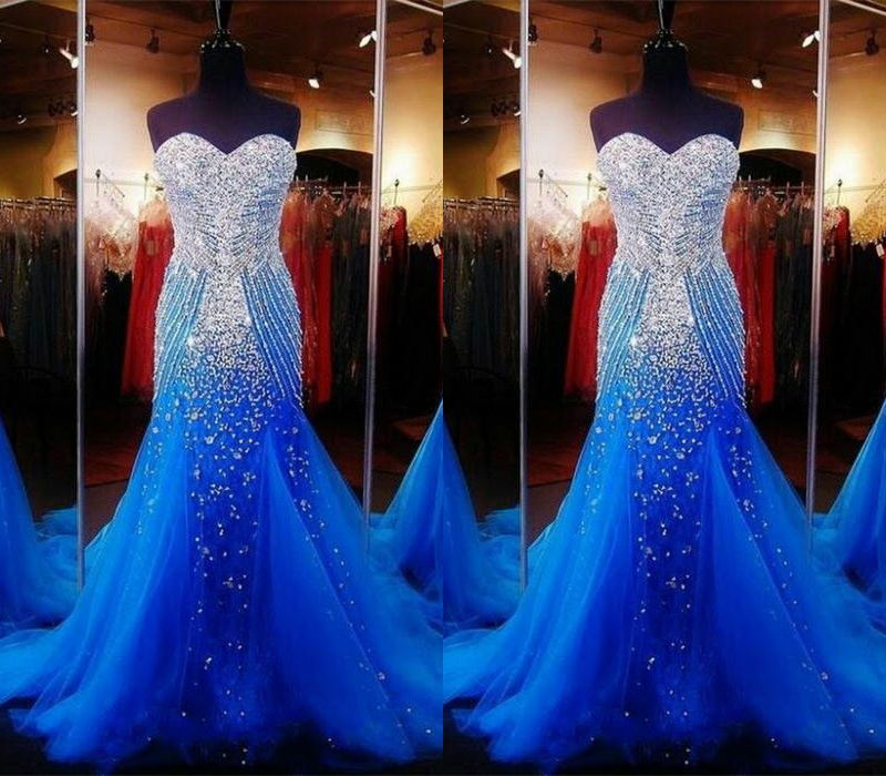 2019 Empire Waist Royal Blue Beading Long