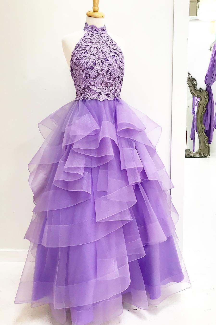 Princess High Neck Lavender Applique Long Prom Dress,Sweet ...