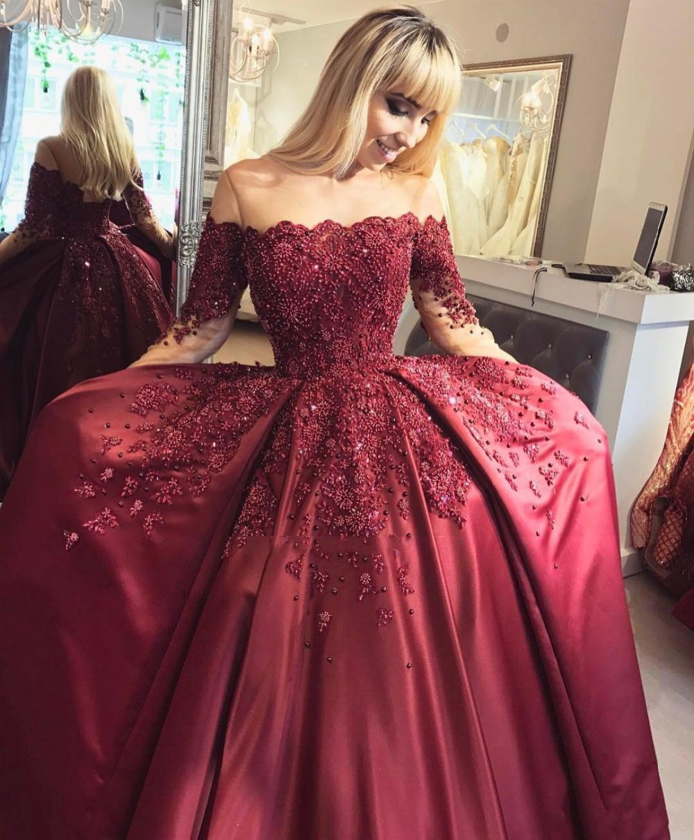 c47334b1438 New Burgundy Long Sleeves Quinceanera Dresses