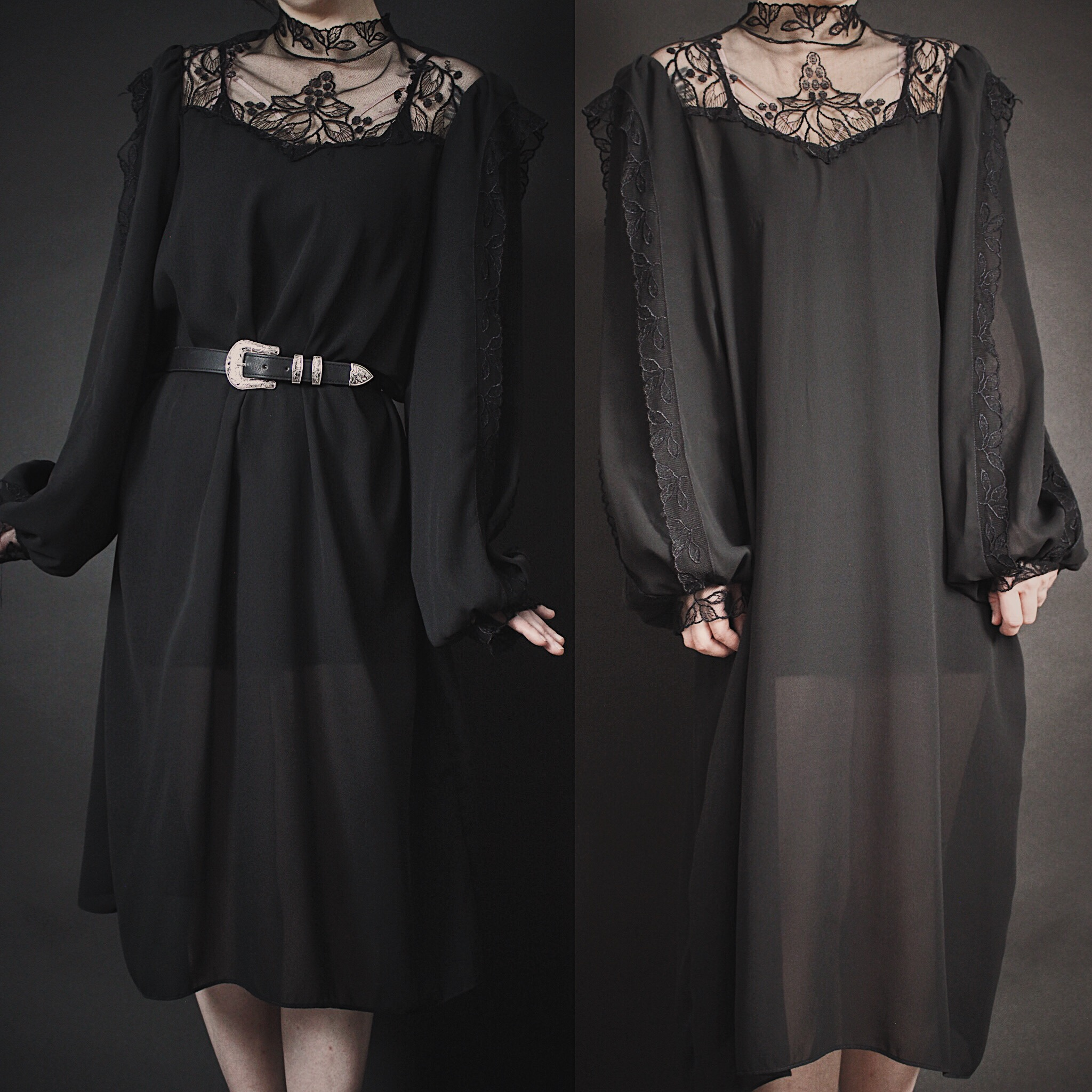 90d4bc030d99 ... RESERVED FOR MAXX - Vintage 80s Black Lace Victorian Inspired Dress -  Thumbnail 2