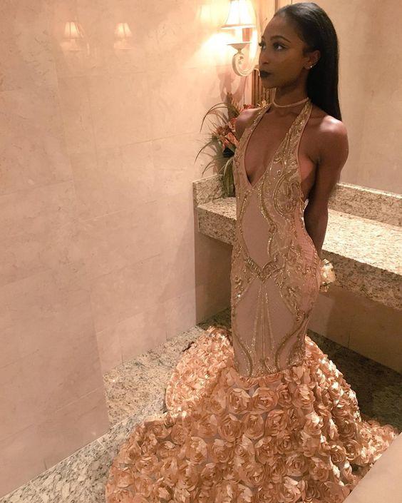 2018 Black Girls Mermaid Prom Dresses Halter Emerald Green Gold