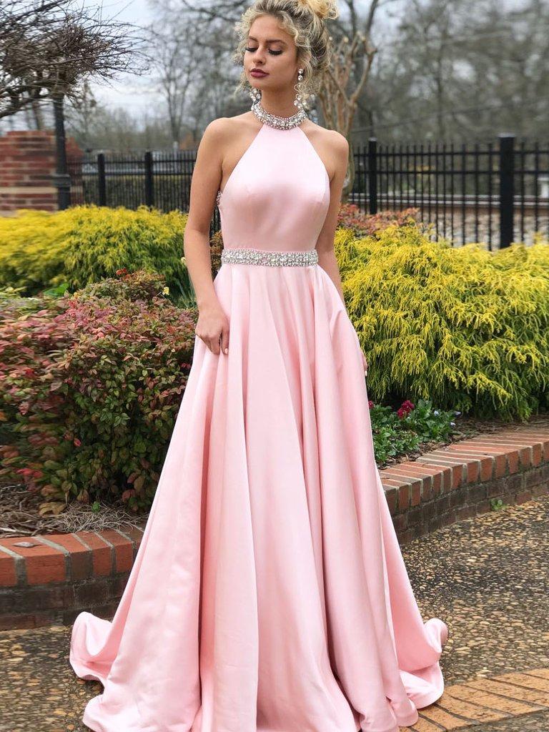 95e617bf937b Simple A-line Prom Dresses Pink High Neck Cheap Beading Prom Dress/Evening  Dress 2018 from dressstore
