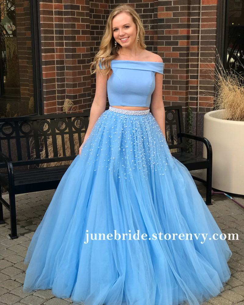 Sky Blue Long Prom Dresses Puffy Bottom