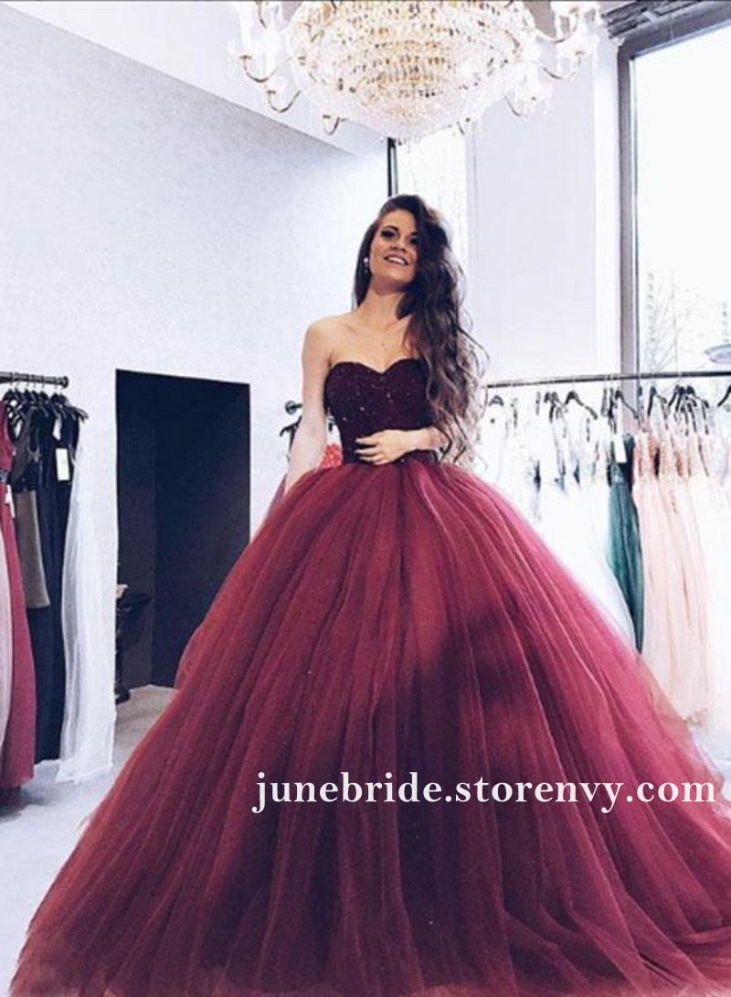 Burgundy Ball Gown Prom Dresses Sparkly Crystal Beaded Party Dress ...