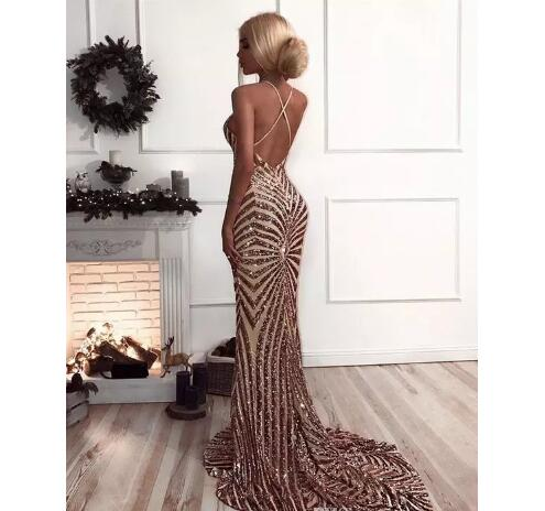 Mermaid Rose Gold Prom Dress, Sequins Prom Dresses 2018 Luxury V ...