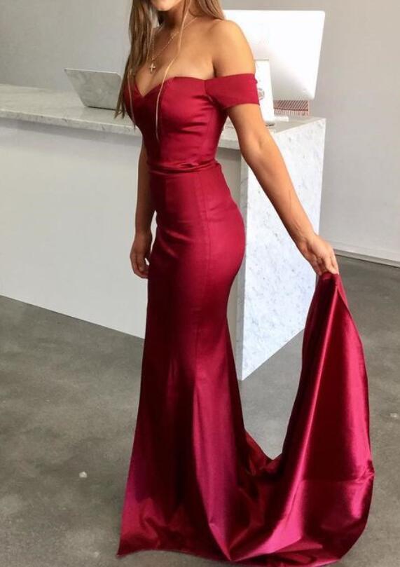 edd8a7f8e1e 2018 Dark Red Long Prom Dress