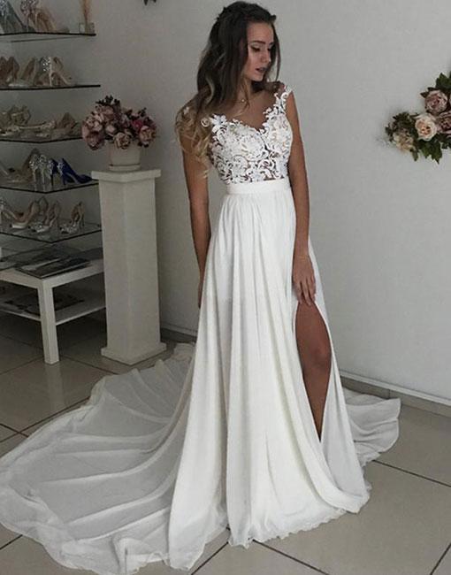 Beach Wedding Dress Cap Sleeves Prom Dresses Chiffon Wedding Dress With Slit Summer Beach Wedding Dresses From Misszhu Bridal