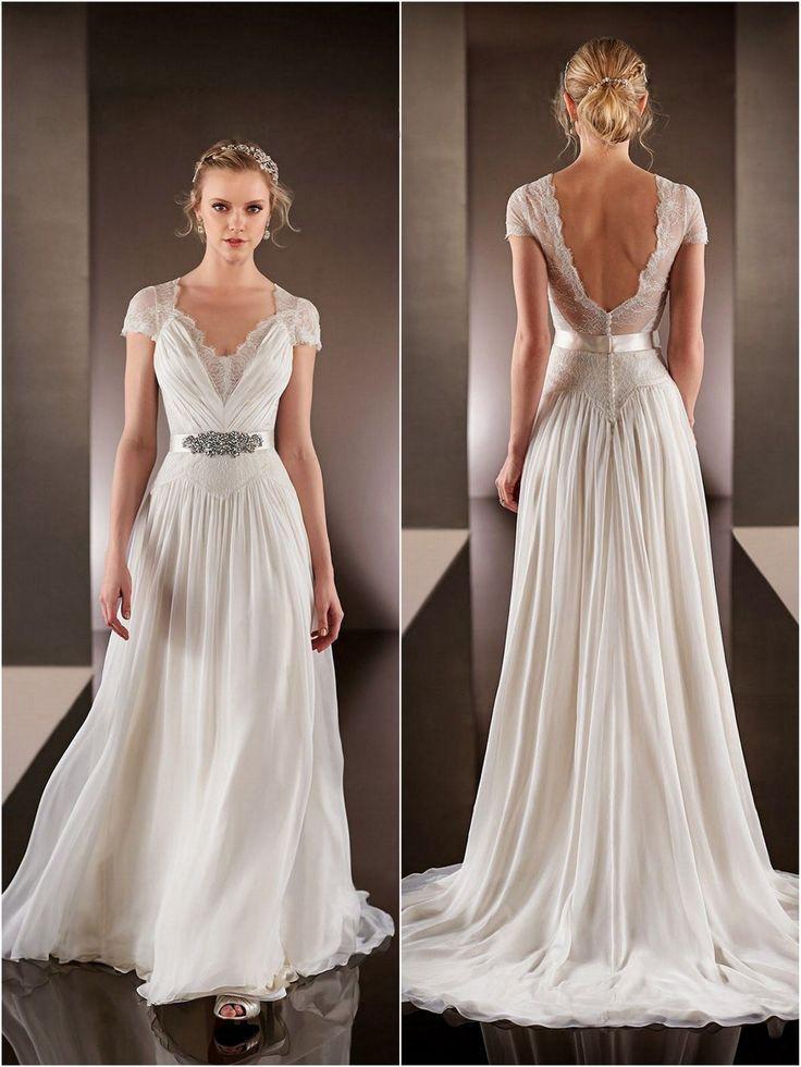 Modest Chiffon Low Back Wedding Gowns Short Sleeves Simple Wedding Dress