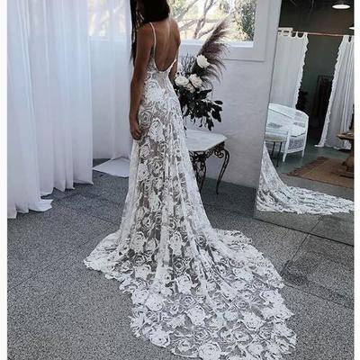 d7f0d99b94 Boho wedding dress, v-neck lace wedding dress, long wedding dresses bridal  dress