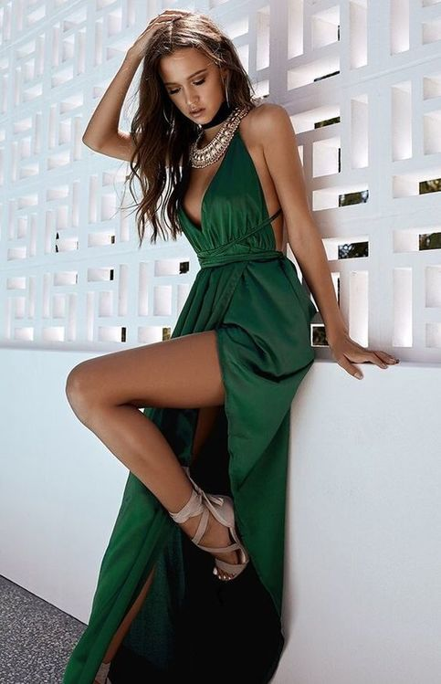 2018 Sexy Emerald Green Prom Dress Satin Prom Gown