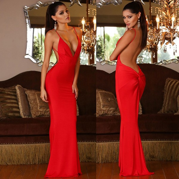 V -neck Red Mermaid Prom Dress bafad6cdc
