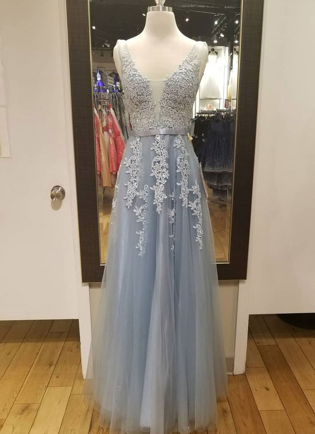 b9e50ad100b0a Cheap Prom Dresses by SweetheartDress · Blue gray tulle long V neck ...
