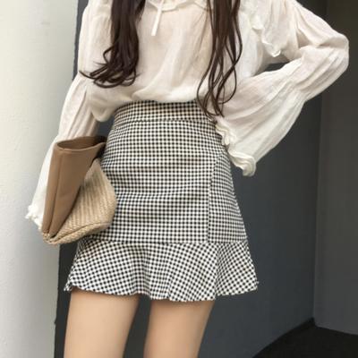 cb1f124621 Plaid ruffle bodycon skirt