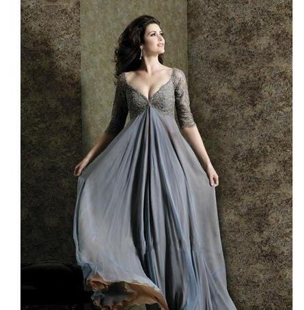 2f54113458 Chic Plus Size Lace Mother Of The Bride Dresses Sleeves A-Line V-Neck