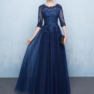 ac62527803f Elegant navy blue mother of the bride dresses half sleeves sheer with applique  lace-up