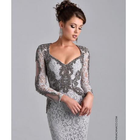 4fc1574a90 ... Elegant Long Sleeve Mother of Bride Dress Formal Evening Dresses 2018  Full Beaded Lace Sheath Long ...