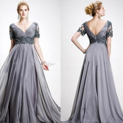 47727abd6b646 Mother of the bride dresses v neck appliques chiffon floor length plus size  backless gray wedding