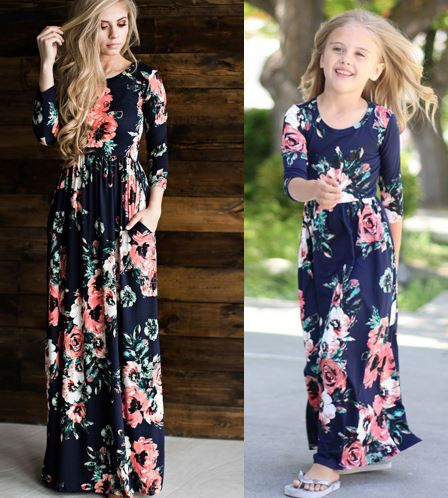 28bfa8a90386 Mother Daughter Bohemian Maxi Blue Dress Floral Long Family Matching Outfits