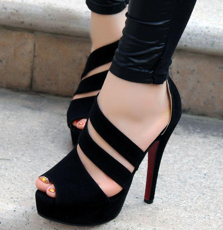 5c12781d45 FREE Shipping New Stylish Handmade Black Straps High Heel Sandals on ...