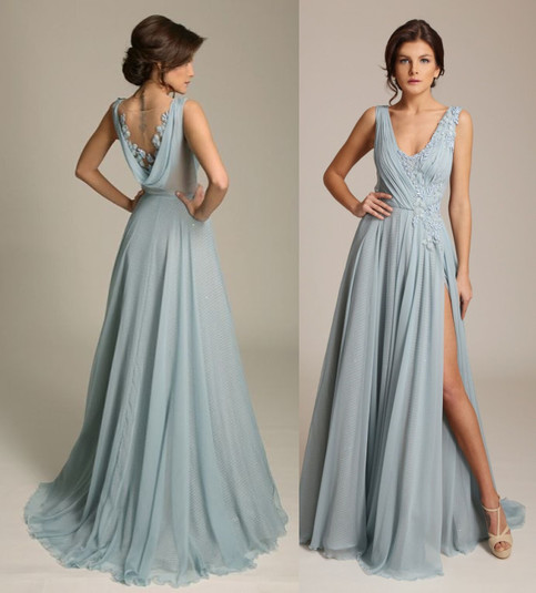 Cowl Neck Back Wedding Dresses: Dusty Blue V Neck Chiffon Evening Gown With Side Split