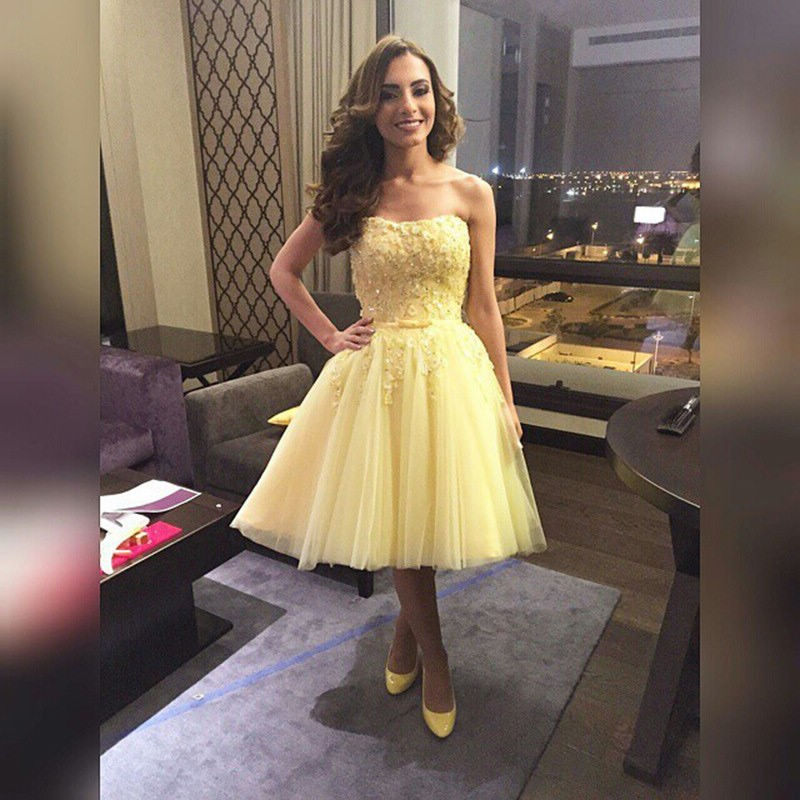 df54cc40aff0 Yellow Knee Length Formal Dresses Off The Shoulder Lace Prom Short Dresses