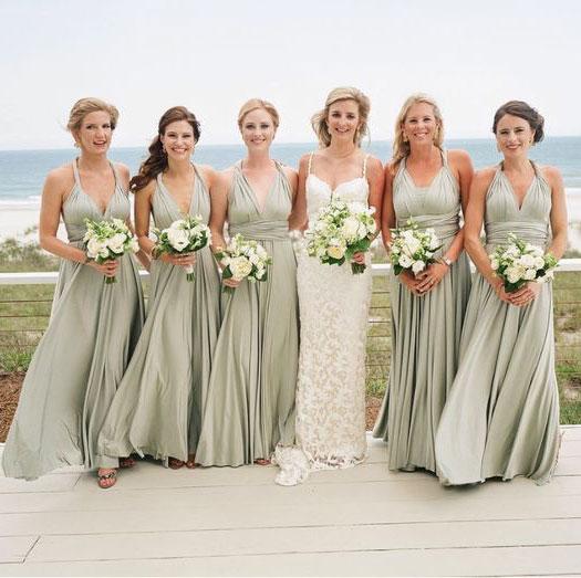 Image of Conversible Sage Long Bridesmaid Dresses for Wedding