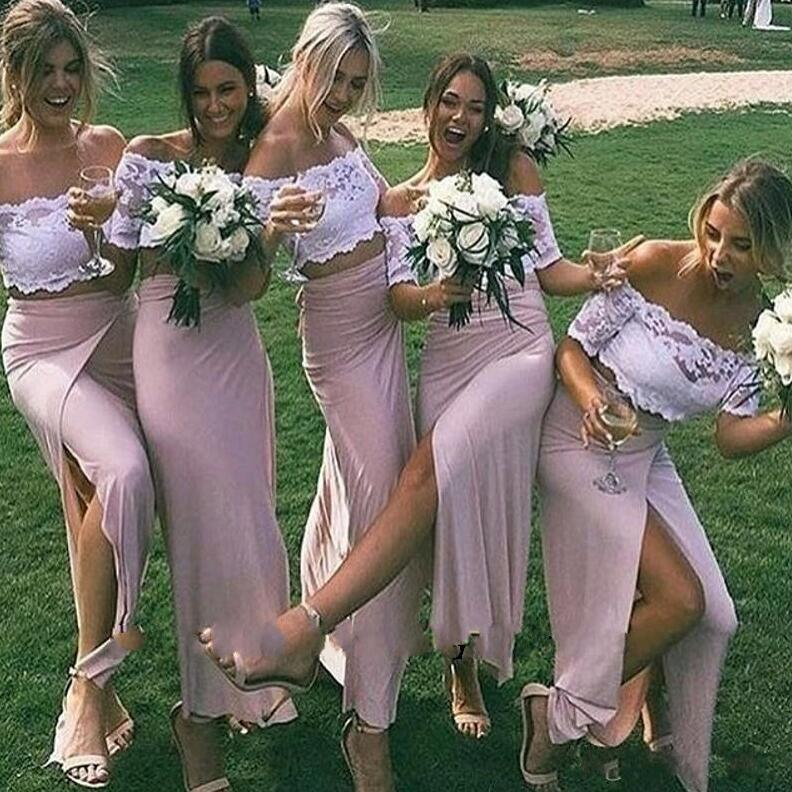 Off The Shoulder Bridesmaid Dress, White Lace Bridesmaid Dress,Bridesmaid Dress,Pink Bridesmaid Dress, Split Side Bridesmaid Dress, Sheath Bride