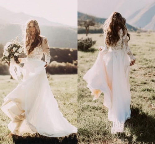 New Bohemian Wedding Dresses Long Sleeves Chiffon Boho Bridal Gowns Sold By Misszhu Bridal On Storenvy