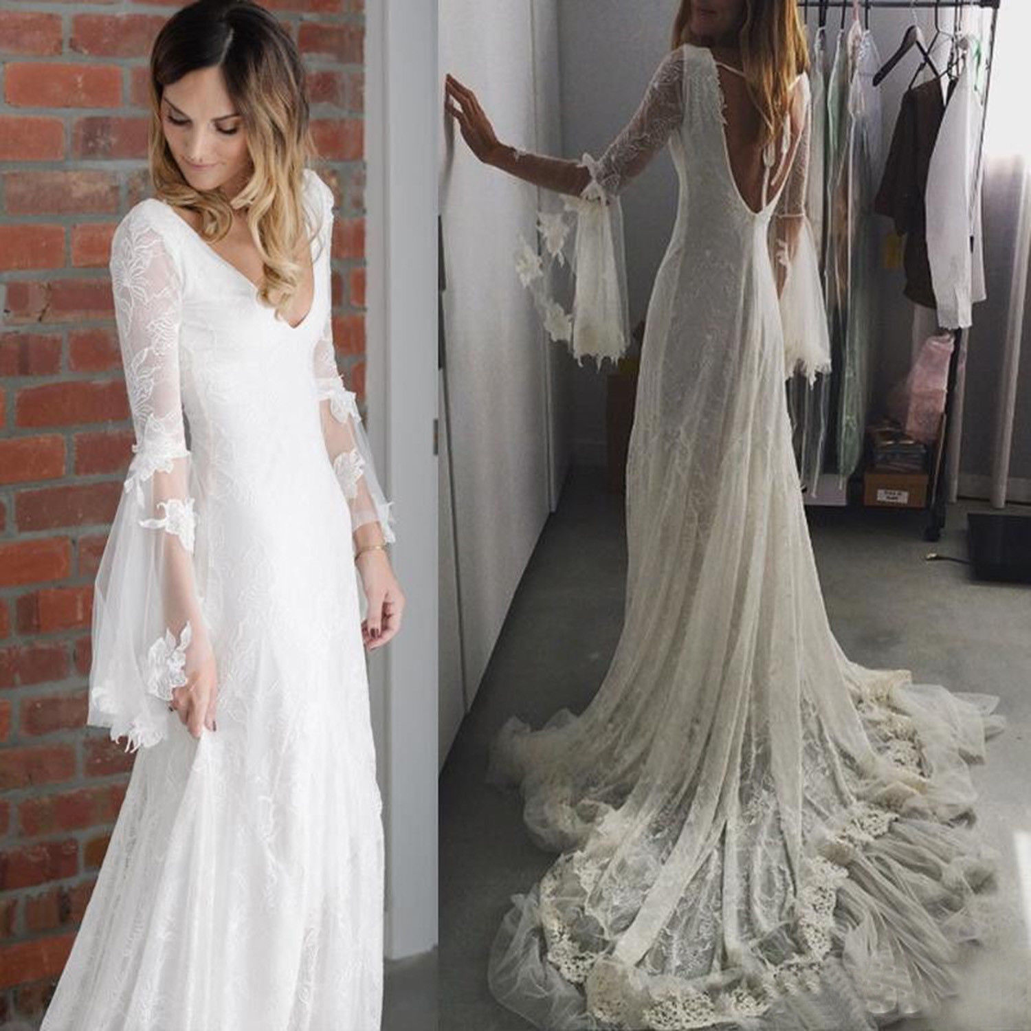 Great 2018 Medieval Wedding Gown Renaissance Bell Sleeve: Bohemia Boho Wedding Dress Deep V Neck Country Bridal Gown
