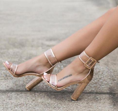 c9cd06f8633 Nachelle Clear Gold Chunky Heels on Storenvy