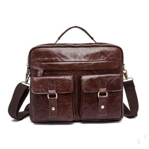 0fd44cd44cd8 Crazy Horse 100% Genuine Leather Men s Business Briefcase Large ...