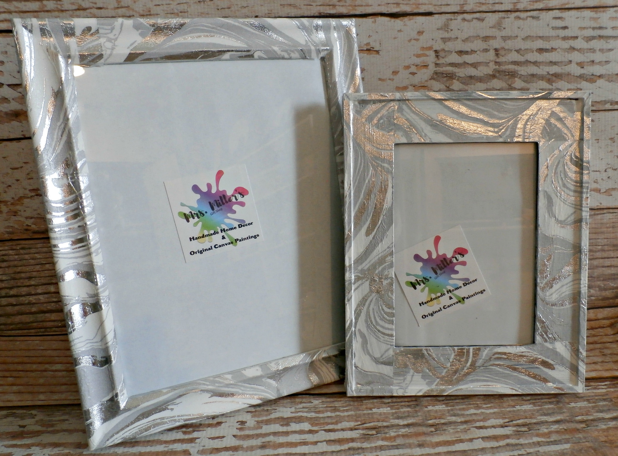 Picture Frames Set of 2 - Metallic Marble Decoupage Acrylic on Storenvy