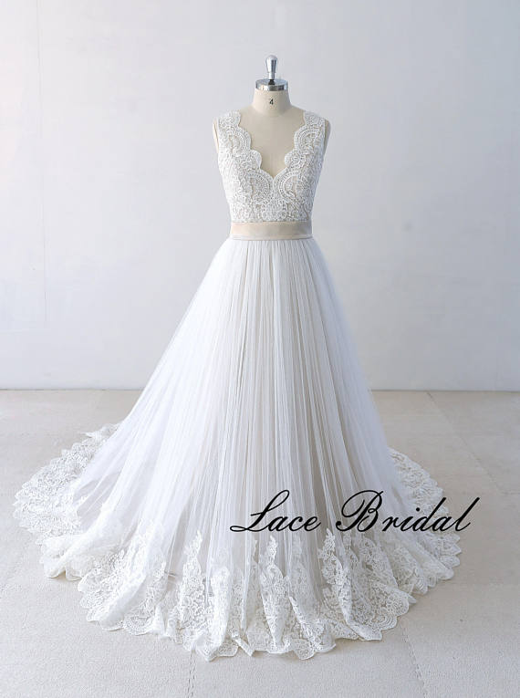 Destination Wedding Dresses.Flowy A Line Tulle Lace Beach Wedding Dress Destination Wedding Dress With Champagne Lining
