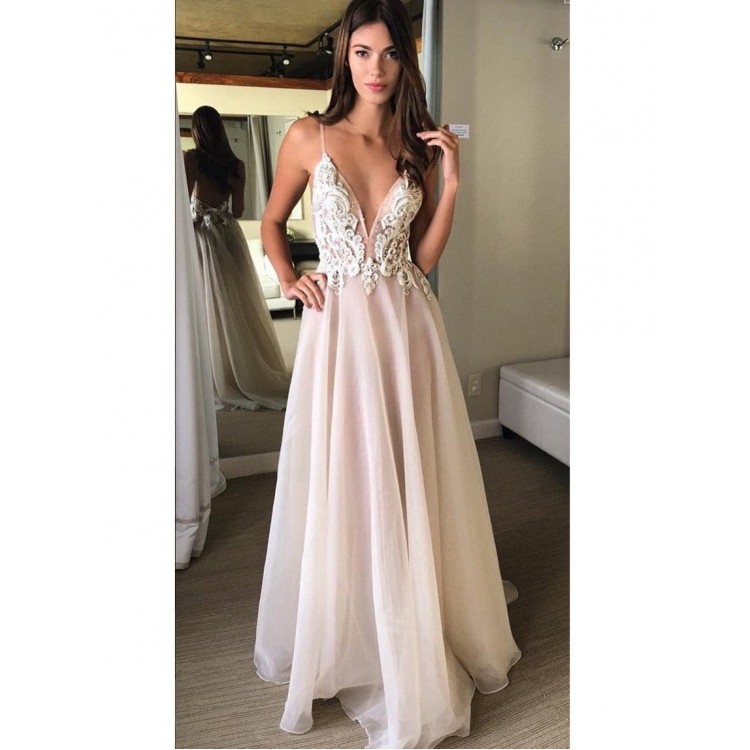 Sexy Open Back Spaghetti Strap Popular Inexpensive Long Prom Dresses