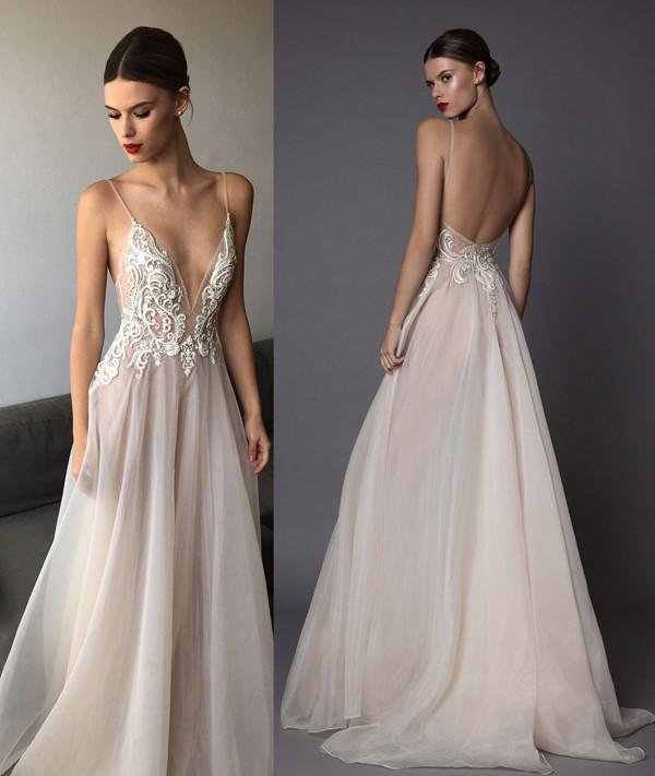 Illusion Deep V Neck Wedding Dress ,Floor Length Layers