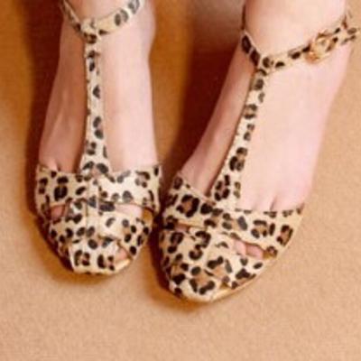 Hollow leopard sandals q-0011