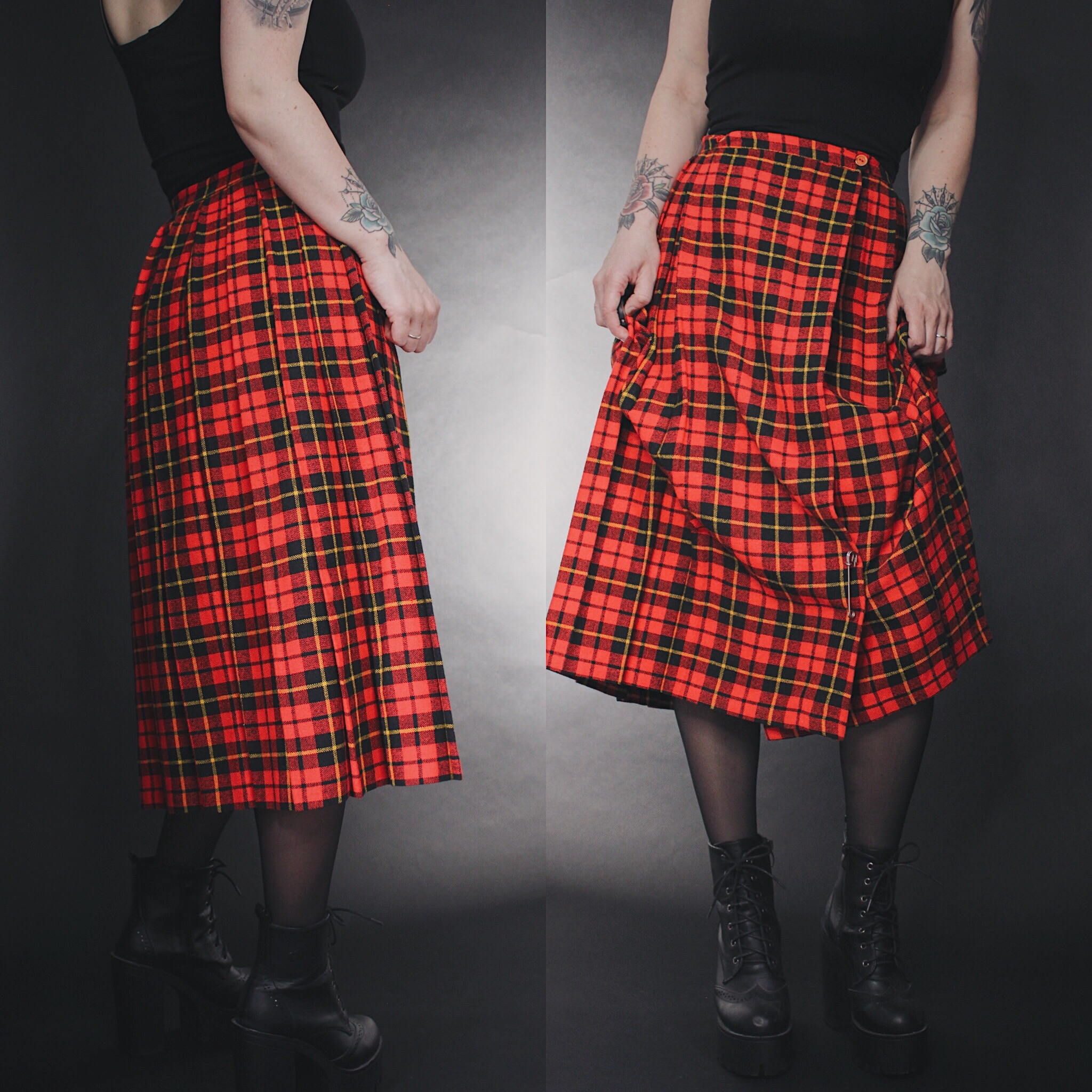 55c35f39b RESERVED FOR MAXX - Vintage 90s Red Plaid Flannel Midi Skirt - Thumbnail 1