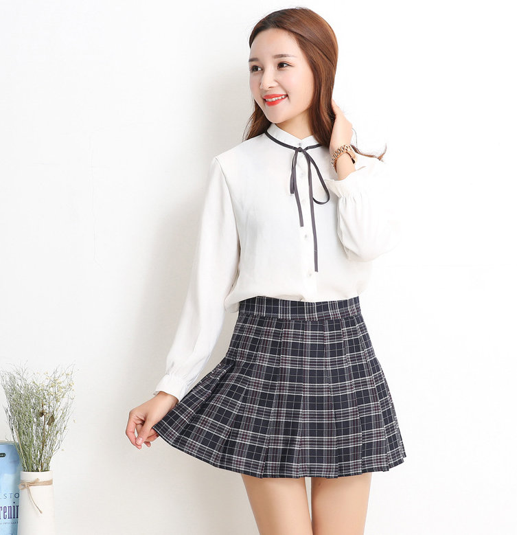 Sexy High Wait Plaid Pleated Mini Skirt.