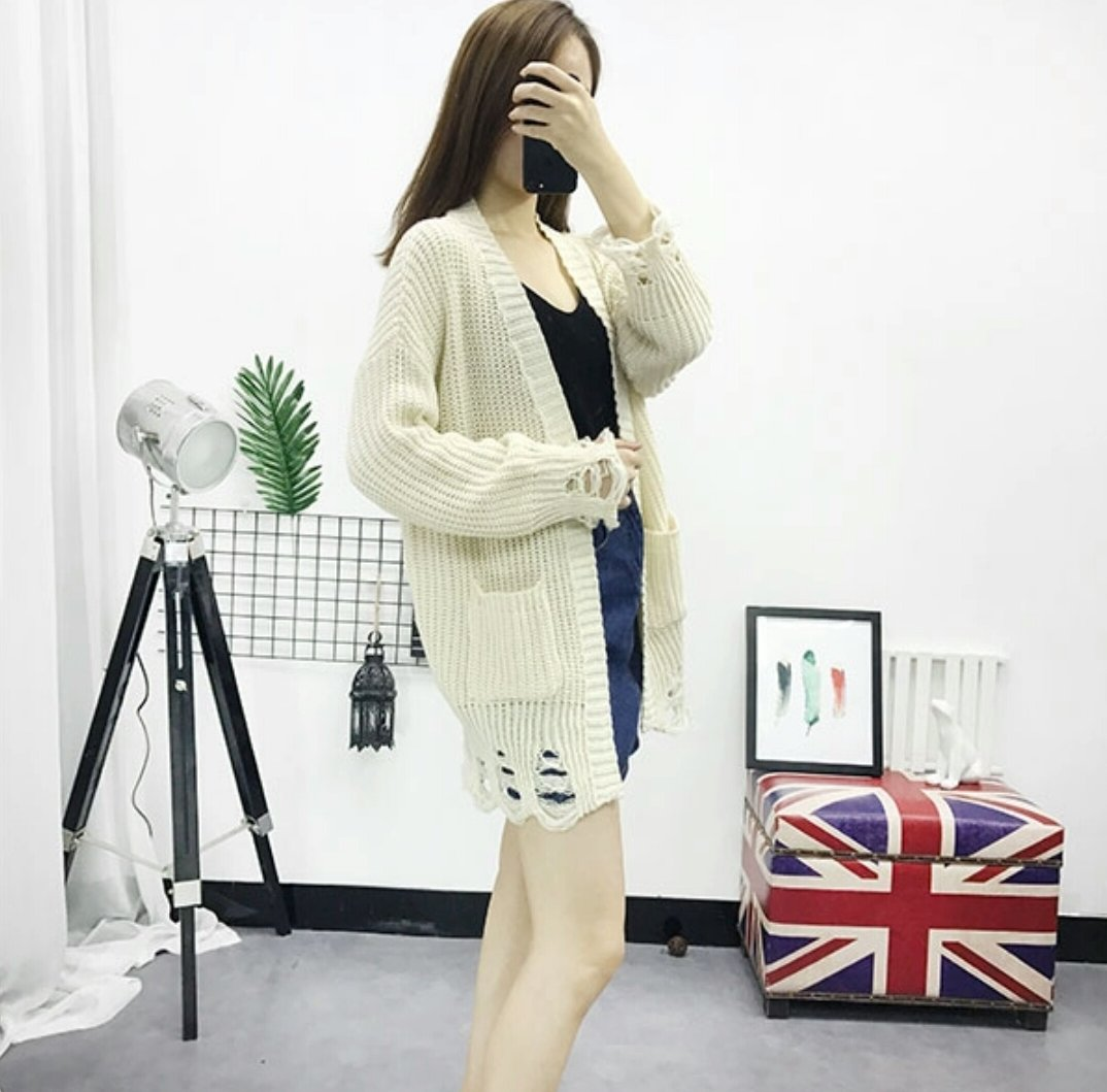 Sexy Women Knitted Hollow Loose Casual Outerwear