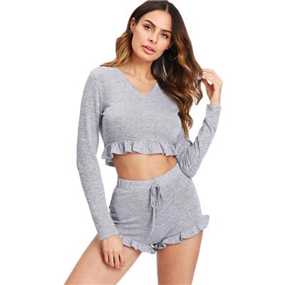 ffe5e8ce7919 Sleepwear Casual Women Loungewear Two Piece Set Grey Long Sleeve Frill Hem  Marled Crop Top and