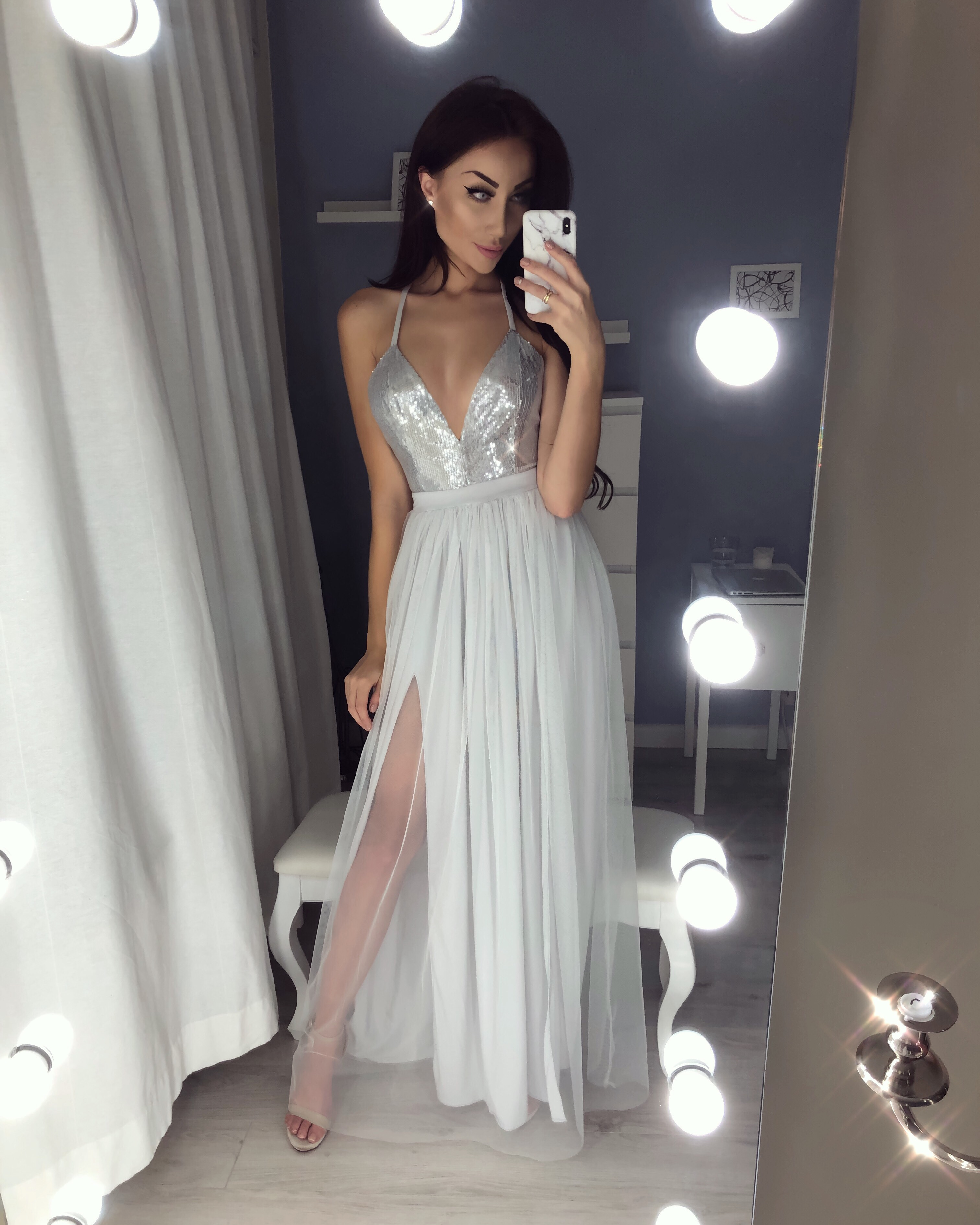 4ef83bb6e0396 Sexy V-neck Sequin Long Prom Dresses Slit Evening Gowns Tulle Evening Dress  on Storenvy